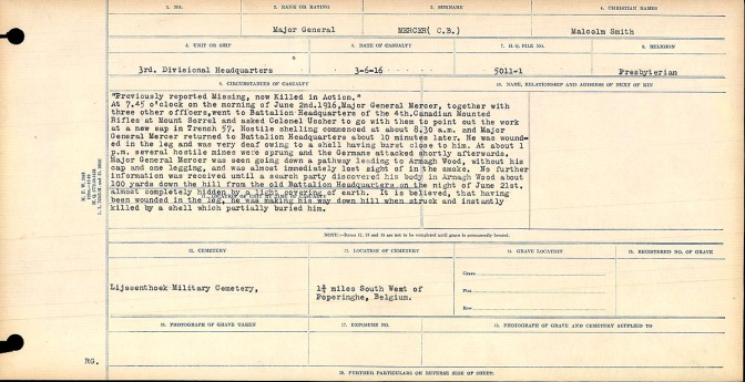 Circumstances of Death Registers, First World War, Microform 31829_B016772
