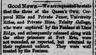 Daily Globe, Toronto June 11, 1866.