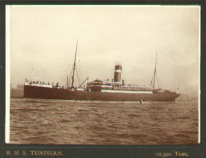 RMS Tunisian on which the 3rd Infantry Battalion, CEF traveled to England in September/October 1914