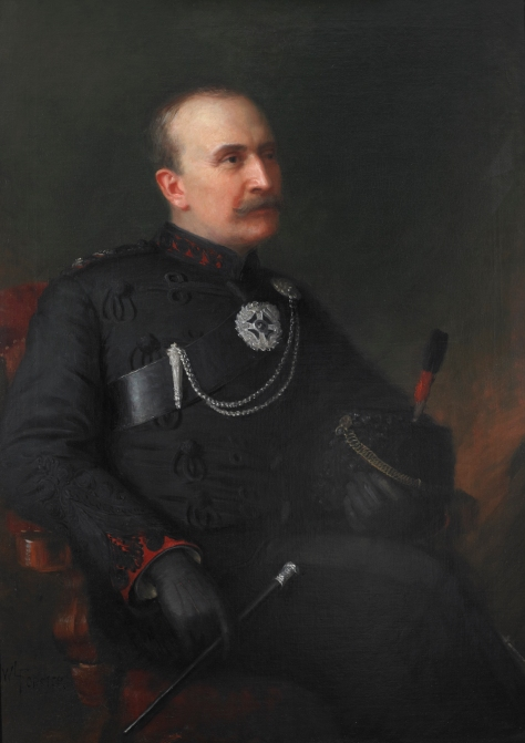 Lieutenant Colonel R.B. Hamilton – Sixth Commanding Officer, 1889-1897. The original painting hangs in the Queen's Own Rifles Officers' Mess. While the artist's signature is not evident in this photo, it was likely J. W. L. Forster who had painted the preceding five and the next succeeding Commanding Officer. •Photo by Christopher Lawson, June 17, 2010.