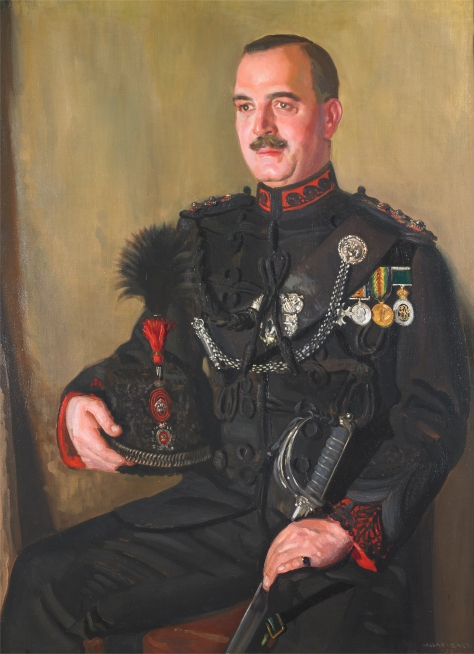 Colonel J.W. Langmuir, MBE, VD – Fifteenth Commanding Officer, 1930-1935. The original oil painting by Lieutenant (Robert) Allan Barr, hangs in the Queen's Own Rifles Officers' Mess. Photo by Christopher Lawson, June 17, 2010.