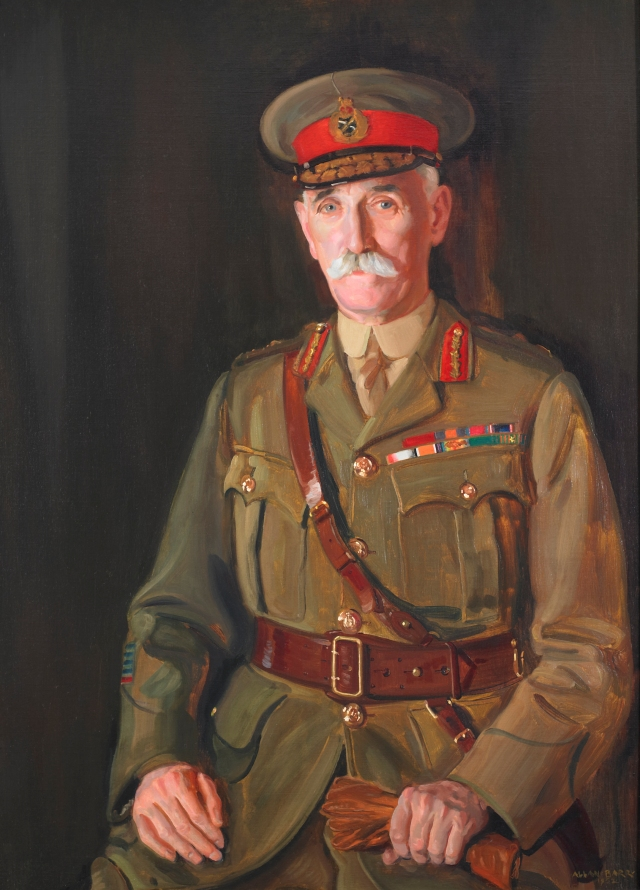 Major General Robert Rennie, CB, CMG, DSO, MVO, VD – Tenth Commanding Officer, 1916-1920 and Honorary Colonel, 1939-1949. The original 1952 oil painting by Lieutenant (Robert) Allan Barr hangs in the Officers' Mess.