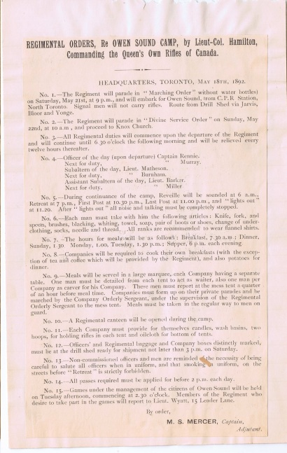 Rgt Orders for May 18th, 1892 Owen Sound