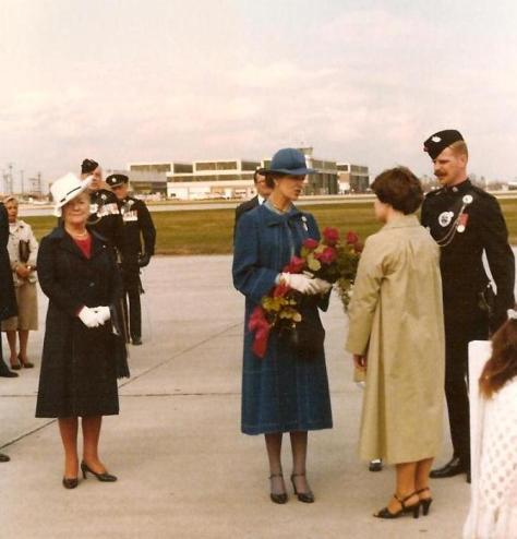 Princess Alexandra is greeted at the Toronto Airport 9 November 1985