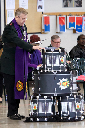 Dedication of new drums by Padre Captain John Niles.