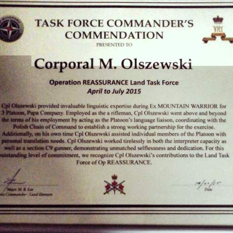 Olszewski, Max Cert of Commendation
