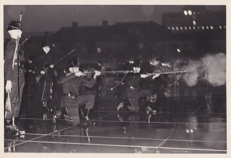 Skirmishers at Toronto City Hall firing volley