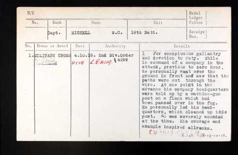 Citation for then Captain Michell's Military Cross