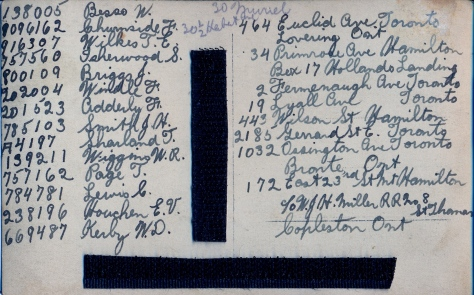 Names on back of 3rd Battalion on the Rhine photograph
