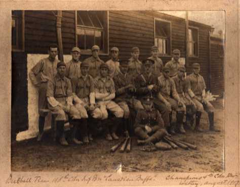 198th Battalion, CEF Baseball Team Champions 5th Canadian Division Witley, England, August 1917