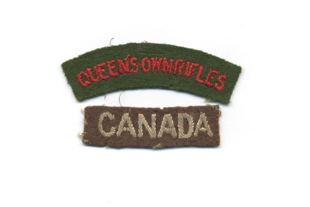 1945 British made QOR title and Canada title
