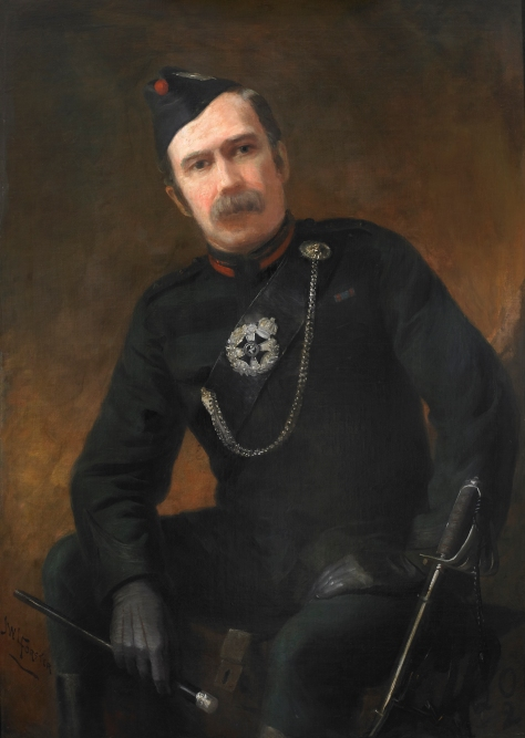 Lieutenant Colonel D.H. Allen, Fifth Commanding Officer February 4, 1887 to August 30, 1889. The original 43.5″ x 31″ oil on canvass painting by celebrated Canadian portrait artist J. W. L. Forster, hangs in the Queen's Own Rifles Officers' Mess. Portrait photo by Christopher Lawson, June 17, 2010.