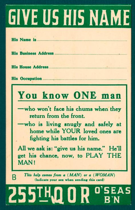 Card encouraging Torontonians to report their neighbours who had not joined up.