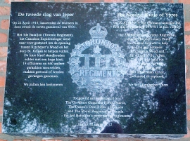 Memorial at St Julien to the 3rd Battalion, Canadian Expeditionary Force, perpetuated by The Queen's Own Rifles of Canada and the Royal Regiment of Canada.
