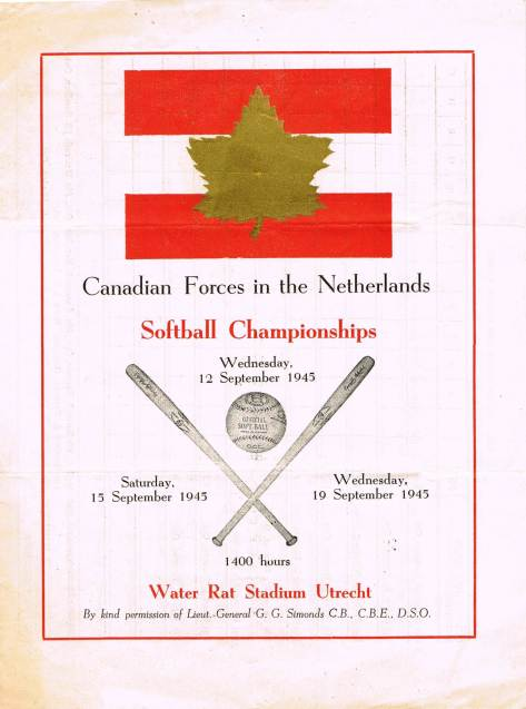 Cover of September 1945 Baseball Championship of the Canadian Forces the  in Netherlands