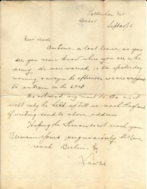 Letter from CSM Pridham to his Uncle Will sent 30 September 1916 from his home in Tottenham