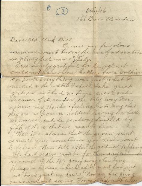 Page 1 of letter from CSM Pridham to his Uncle Will sent 7 October 1916 from Base Borden