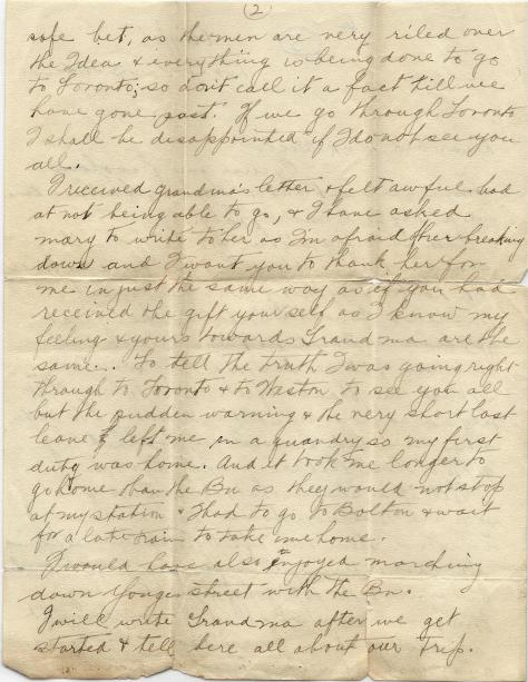 Page 2 of letter from CSM Pridham to his Uncle Will sent 7 October 1916 from Base Borden