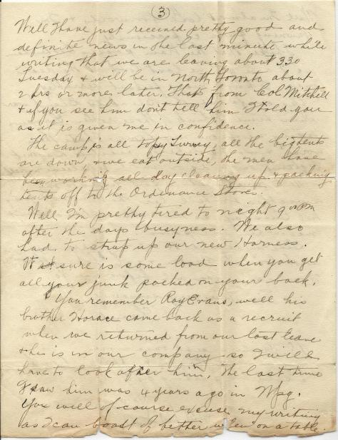Page 3 of letter from CSM Pridham to his Uncle Will sent 7 October 1916 from Base Borden