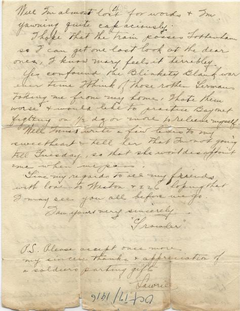 Page 4 of letter from CSM Pridham to his Uncle Will sent 7 October 1916 from Base Borden