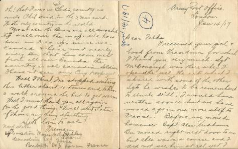 "Page 1 and 4 of a letter from CSM Pridham to ""Dear Folks"" sent 17 January 1917 from London, England"