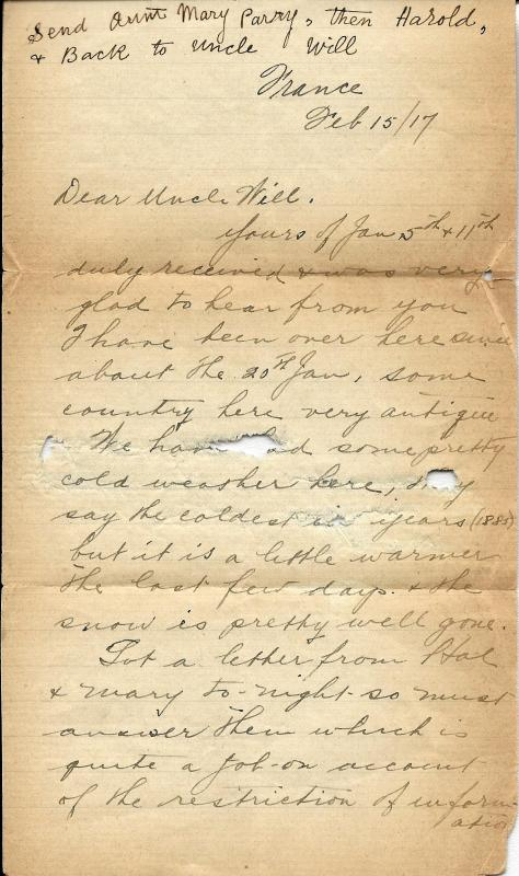 Page 1 of a letter from Lawrence Pridham to his Uncle Will send 2 February 1917 from France