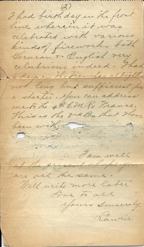 Page 2 of a letter from Lawrence Pridham to his Uncle Will send 2 February 1917 from France