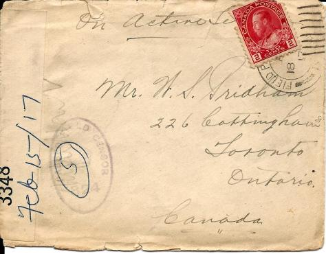 Front of envelope of a letter from Lawrence Pridham to his Uncle Will send 2 February 1917 from France