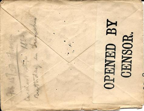 Back of envelope of a letter from Lawrence Pridham to his Uncle Will send 2 February 1917 from France