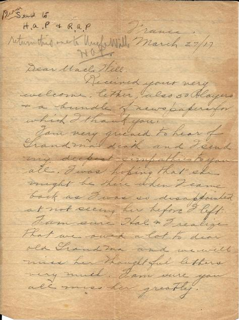 Page 1 of a letter from Lawrence Pridham to his Uncle Will sent 27 march 1917 from France