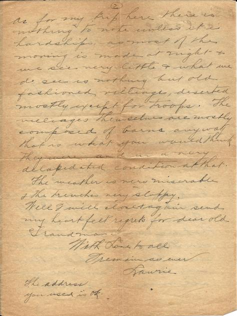 Page 2 of a letter from Lawrence Pridham to his Uncle Will sent 27 march 1917 from France