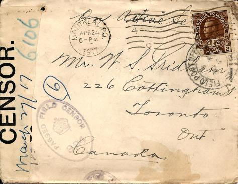 Front of the envelope of a letter from Lawrence Pridham to his Uncle Will sent 27 march 1917 from France