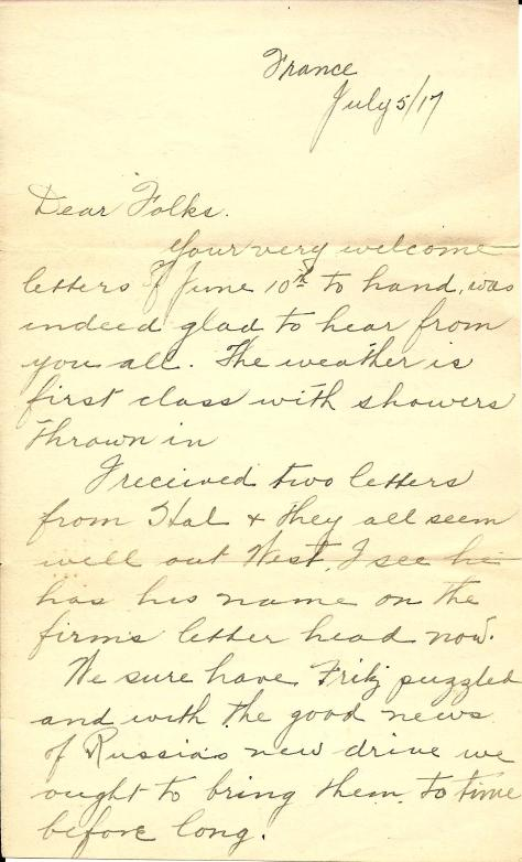 Page 1 of a 5 July 1917 letter from France sent by Lawrence Pridham to his Uncle Will