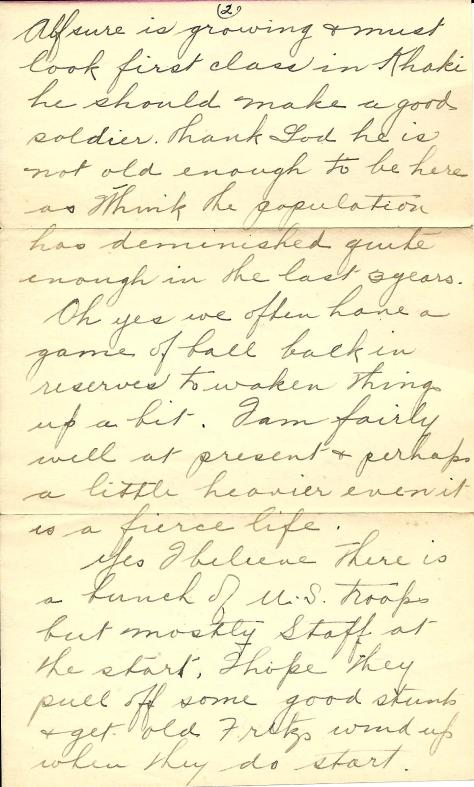 Page 2 of a 5 July 1917 letter from France sent by Lawrence Pridham to his Uncle Will