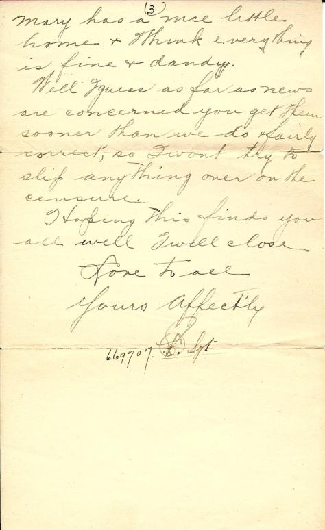 Page 3 of a 5 July 1917 letter from France sent by Lawrence Pridham to his Uncle Will