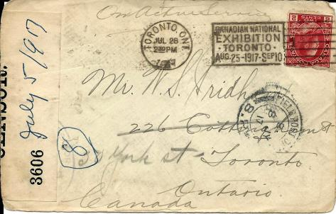 Front of the envelope of a 5 July 1917 letter from France sent by Lawrence Pridham to his Uncle Will