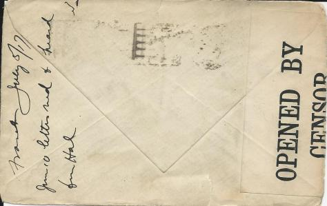 Back of an envelope of a 5 July 1917 letter from France sent by Lawrence Pridham to his Uncle Will