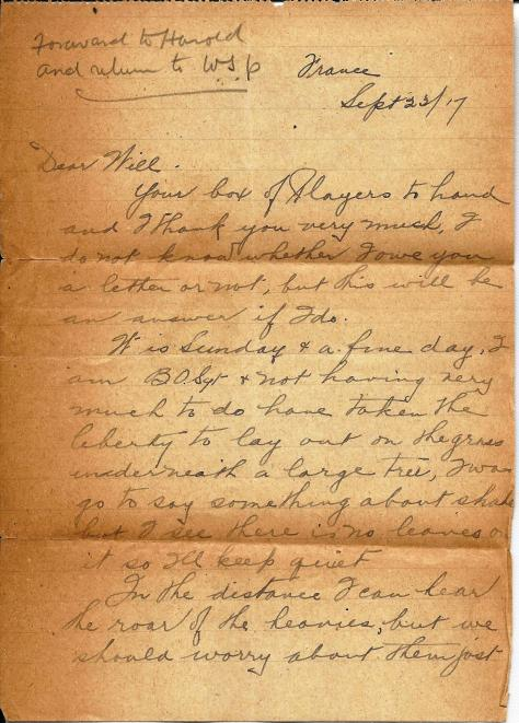Page 1 of a letter sent from France 23 September 1917 from Lawrence Pridham to his Uncle Will in Toronto.