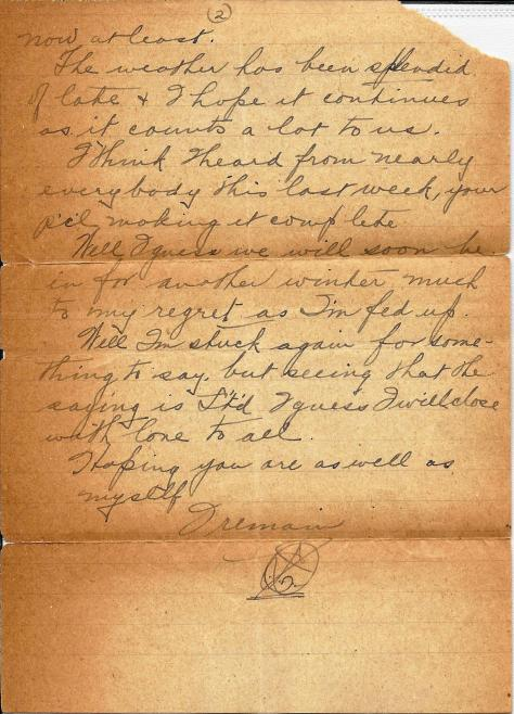 Page 2 of a letter sent from France 23 September 1917 from Lawrence Pridham to his Uncle Will in Toronto.