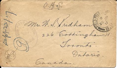 Envelope cover of a letter sent from France 23 September 1917 from Lawrence Pridham to his Uncle Will in Toronto.