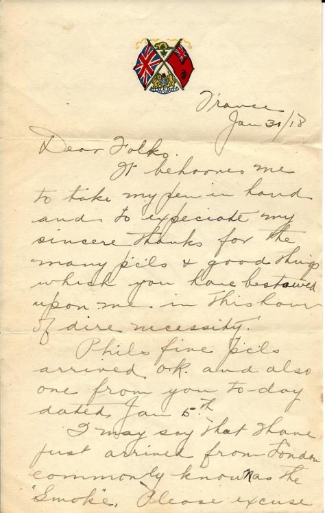 Page 1 of a letter from Lawrence Pridham to his Uncle Will from France on 31 January 1918