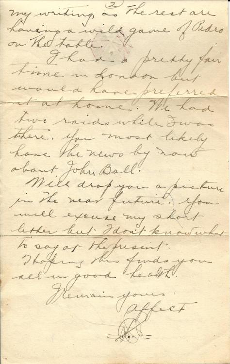 Page 2 of a letter from Lawrence Pridham to his Uncle Will from France on 31 January 1918