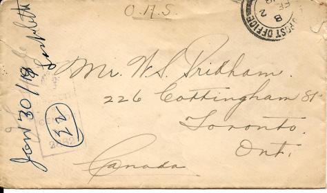 Envelope of a letter from Lawrence Pridham to his Uncle Will from France on 31 January 1918