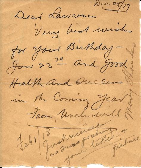 Note to CSM Lawrence Pridham from his Uncle Will dated 28 December 1917 and a return note scribbled on the bottom dated 1 February 1918.