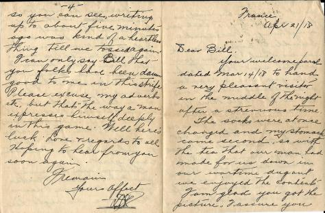 Page 1 of a letter from Lawrence Pridham to his Uncle Will (called Bill here) sent from France 18 April 1918