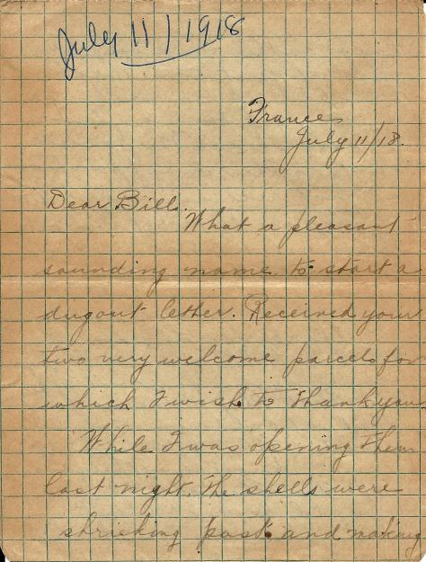 Page 1 of a letter from Lawrence Pridham to his Uncle Will (called Bill here) sent from France 11 July 1918