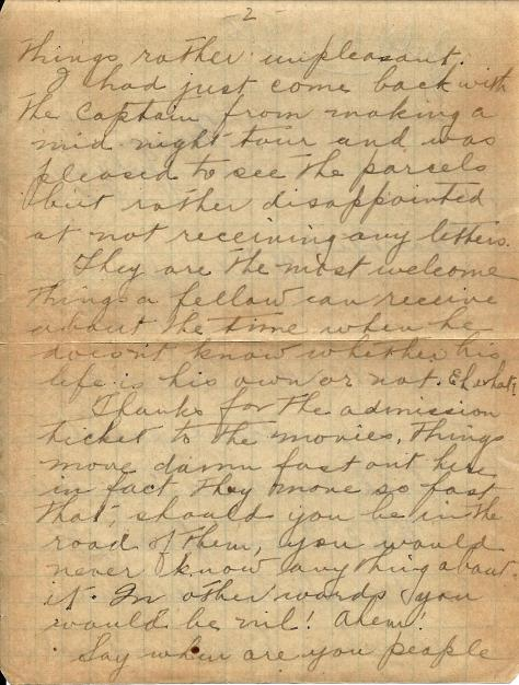 Page 2 of a letter from Lawrence Pridham to his Uncle Will (called Bill here) sent from France 11 July 1918