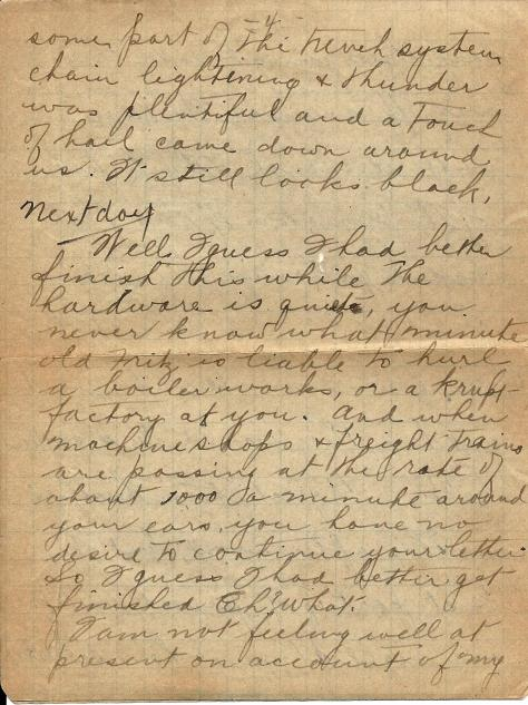 Page 4 of a letter from Lawrence Pridham to his Uncle Will (called Bill here) sent from France 11 July 1918