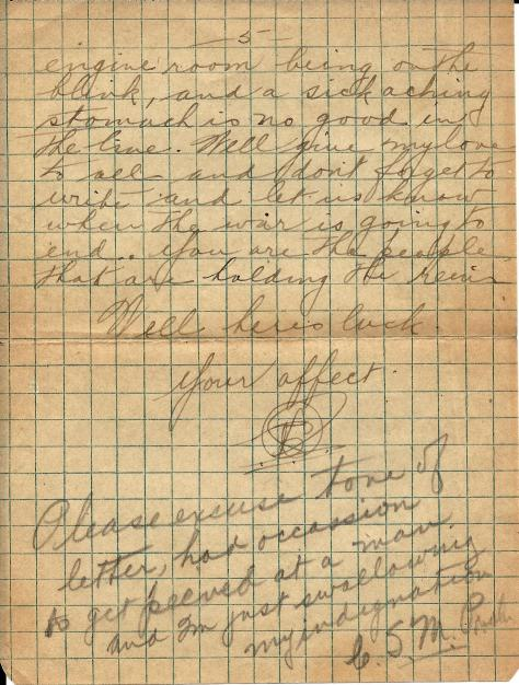 Page 5 of a letter from Lawrence Pridham to his Uncle Will (called Bill here) sent from France 11 July 1918