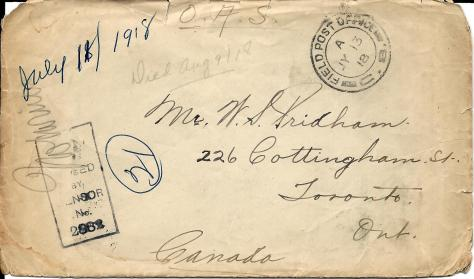 Envelope cover of a letter from Lawrence Pridham to his Uncle Will (called Bill here) sent from France 11 July 1918